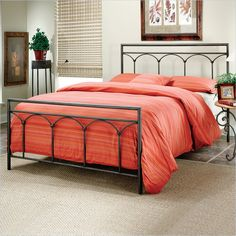 Lowest price online on all Hillsdale McKenzie Metal Panel Bed Brown Steel Finish - 1092BXR