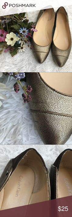 Calvin Klein Pointed Toe Bronze and Black Flats Good used condition, shows signs of wear as shown in pics. They haven't been worn all that much! Smoke/pet free home. No trades. Medium width. Calvin Klein Shoes Flats & Loafers