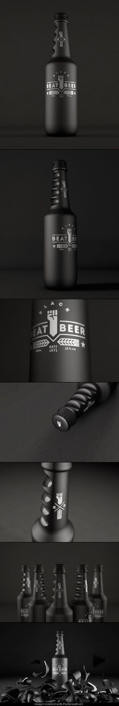 Beat Beer (Concept) . Packaging design . Bottle . Black . Product design . Brand .