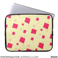 Pretty Pink Square Confetti on Creamy Yellow Computer Sleeve