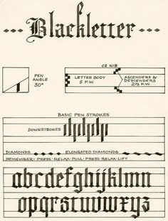 Blackletter Alphabet Calligraphy -- a basic explanation.  If you are really interested in this style, check out Ward Dunham's work.: