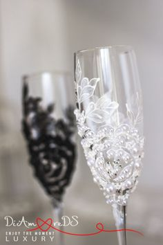 Bride and groom wedding champagne glasses white & от DiAmoreDS