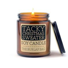 TACKY CHRISTMAS SWEATER! This scent is perfect for holiday parties, cookie decorating, caroling, putting up your tree, and everything else yuletide-y. It smells just like gingerbread-- aka AMAZING. This is only available until December 31st! Grab it while ya can! Each candle is in a 9oz amber glass jar with a black metal lid. They have a 70+ hour burn time and are made from all natural US soy beans. They are hand poured in Austin, Texas in small batches to ensure quality. Amber Glass Jars, Glass Candle, Candle Jars, Soy Candles, Scented Candles, Funny Candles, Noter Dame, Tacky Christmas Sweater, Bees Knees