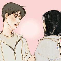 17번째 이미지 Art And Illustration, Gifs, Anime Love Story, Cute Couple Art, Pretty Drawings, Sad Art, Korean Art, Kawaii, Cute Gif