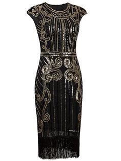 Vijiv 1920s Vintage Inspired Sequin Embellished Fringe Long Gatsby Flapper Dress at Amazon Women's Clothing store: