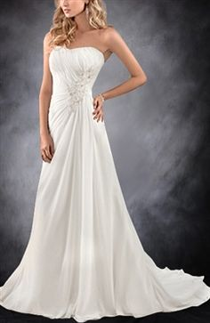 A-line Applique Beaded Gathered Waist Wedding Gown