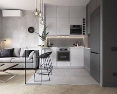 Condo Interior Design, Small Apartment Interior, Small Apartment Kitchen, Home Room Design, Home Decor Kitchen, Kitchen Interior, Small Apartment Design, Kitchen Modern, Kitchen Furniture