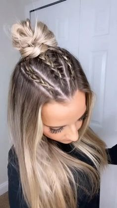 Wavy Hairstyles Tutorial, Curly Hair Tutorial, Easy Hairstyles For Long Hair, Braids For Long Hair, Basic Hairstyles, Cute Hairstyles For Teens, French Braid Hairstyles, Professional Hairstyles, Hairstyles For Working Out