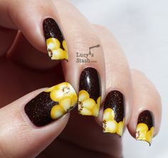 Lucy's Stash - floral one stroke nail art featuring picture polish demeter