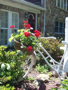 Bicycle with basket of geraniums.