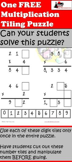Free Multiplication Tiling Puzzle that encourages students to use problem solving and multiplication principles together.