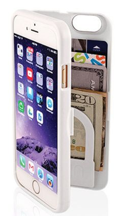 "Quick Overview Click here for personalized cases - fits all iPhone 6 and 6s devices - dimensions: 5 1/2"" x 2 1/2"" x 1/2"" - hinged back for built-in storage space - holds three bank cards and cash comf"