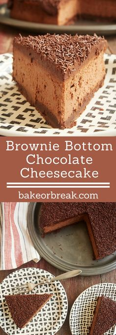 Brownie Bottom Chocolate Cheesecake is ALL about the chocolate. A brownie crust, a double chocolate cheesecake, and a chocolate ganache topping. - Bake or Break (Bake Goods) Double Chocolate Cheesecake, Brownie Cheesecake, Cheesecake Recipes, Dessert Recipes, Chocolate Ganache, Chocolate Topping, Just Desserts, Delicious Desserts, Yummy Food