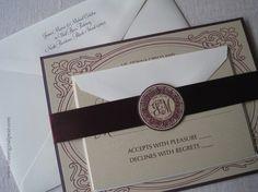 Elegant Wedding Invitation with Monogram Seal by theoriginalpear, $4.75