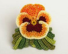 Hand dyed crochet thread realistic pansy viola flower pin brooch orange green red hand painted fiber Irish crochet OOAK