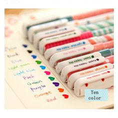 Cute stationery set of 10 color gel pens for DIY by JnMstudio