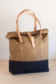 Strawfoot Handmade — Roll-Top Tote: Sage/Navy