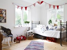 kids room//bed..What a room!! I just love the embroidered pillow. Take a look at ours at boutiquedaf