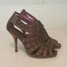 BCBG heels! Never worn!!! Brown shoes with studs /zipper front BCBGMaxAzria Shoes