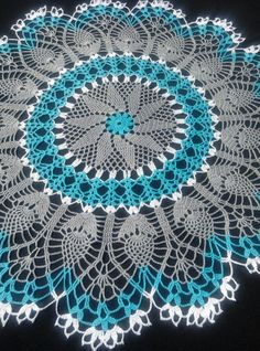"""READY TO SHIP Crochet doilies-large crochet doily """"-round tablecloth-Home decor-blue doily-gray Thread Crochet, Filet Crochet, Crochet Stitches, Free Crochet Doily Patterns, Crochet Designs, Crochet Tablecloth, Round Tablecloth, Crochet Dollies, Crochet Round"""