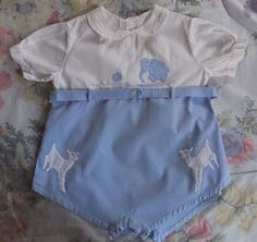 ANTIQUE BLUE COTTON EMBROIDERED BABY INFANT BUBBLE SUIT ONESIE ROMPER