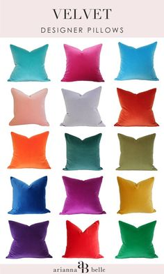 Decor resource for bespoke designer pillows - these velvet ones can be custom made in any size. Other colors also available.