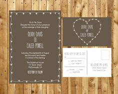 Garden Lights Wedding Invitation DIY Digital Printable PDF and matching RSVP postcard. $40.00, via Etsy.