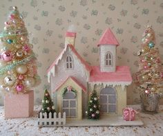 Shabby chic christmas decorations village houses Ideas for 2019 Shabby Chic Christmas, Pink Christmas, Christmas Home, Vintage Christmas, Xmas, Christmas Village Houses, Putz Houses, Christmas Villages, Mini Houses