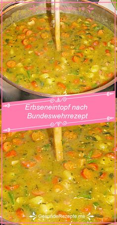 Erbseneintopf nach Bundeswehrrezept – RezepteBlog.net Easy Healthy Dinners, Healthy Dinner Recipes, 300 Calorie Lunches, 300 Calories, Family Meals, Curry, Food And Drink, Cooking, Ethnic Recipes