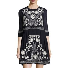 8912ea4e62e French Connection Kiko Embroidered Fit   Flare Dress ( 107) ❤ liked on  Polyvore featuring