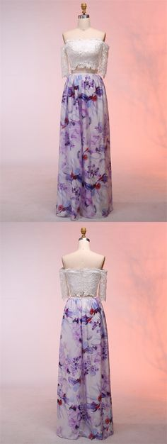 elegant two piece off the shoulder prom dress with lace, fashion off the shoulder 2 piece floral party dress with lace