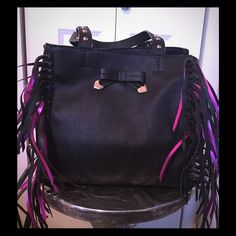 New Betsey Johnson large shoulder bag with fringe! This beautiful Betsey Johnson shoulder tote is right on trend… With black and hot pink fringe. New!! From a smoke free home. I take very good care of my handbags. No trading, thank you. Betsey Johnson Bags Totes