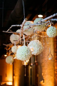 Rustic Elegance | Pomanders + Birch + Crystals | See the wedding on #SMP: http://www.stylemepretty.com/illinois-weddings/chicago/2013/12/26/fultons-on-the-river-wedding/ Ann & Kam Photography & Cinema