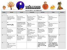 october school lunch menu (vegan)