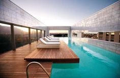 Pool deck with a view at African Pride Crystal Towers Hotel & Spa