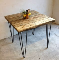 Square Industrial Style Reclaimed Wood and Steel by DerelictDesign