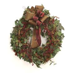"""Distinctive Designs XA-174 Wreath 30"""" Frosted Ivy Wreath with Mixed Berry Branches and Sprays and Ribbon"""
