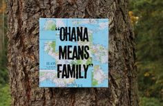 "I need to go to Hawaii...Stat!  ""OHANA MEANS FAMILY""  from the movie Lilo & Stitch stamped on #Hawaii map on canvas by Houseof3 on Etsy"