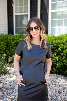 Leather, Leather dresses, boutiques, Black dresses, long hair, blogger style, what to wear, #ootd, mom style