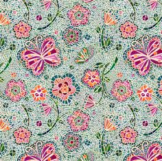 Blossoms and Butterflies Mosaic fabric by sarah_treu on Spoonflower - custom fabric