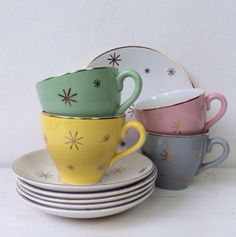 Vtg Gold Trim 50S Mid Century Atomic Starburst Star Pastel Cups Plates Saucers in 1950s | eBay