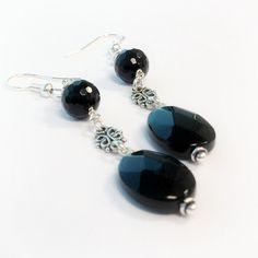 Black Earrings Sterling Silver Jewelry Onyx by jewelrybycarmal, $32.00