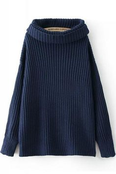 Turtle Neck Long Sleeve Plain Loose Sweater