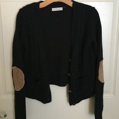 Black Knit Cardigan w/ Elbow Patches & Buttons Super comfortable and warm. I'm not usually a size L but I wanted the comfy, wider sleeves. It has 4 buttons and faux suede elbow patches. It also has 2 functional pockets and 2 different knit patterns on the front. The back is just a solid knit pattern (like on the sleeves). There is pilling (as seen in photos) but it is otherwise in great condition. Let me know if you'd like me to put together a bundle for you  Love Tree Sweaters Cardigans