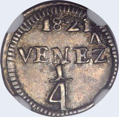 Pieza mpc0.25r-ca01v3 (Reverso). Moneda de la Provincia de Caracas. 1/4 Real. Diseño C, Tipo A. Fecha 1821. Variante #3