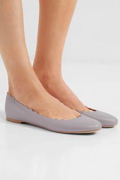 Chloé - Lauren Scalloped Leather Ballet Flats - Gray - IT39.5