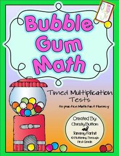 """Multiplication Math Facts Timed Tests-""""Bubble Gum Math"""""""