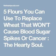 5 Flours You Can Use To Replace Wheat That WON'T Cause Blood Sugar Spikes Or Cancer : The Hearty Soul.