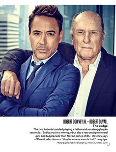 "Robert Downey Jr. and Robert Duvall, stars of ""The Judge,"" for PEOPLE magazine, Oct. 2014"