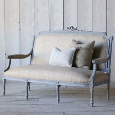 Eloquence One of a Kind Vintage Louis XVI Dark Slate Gray Settee